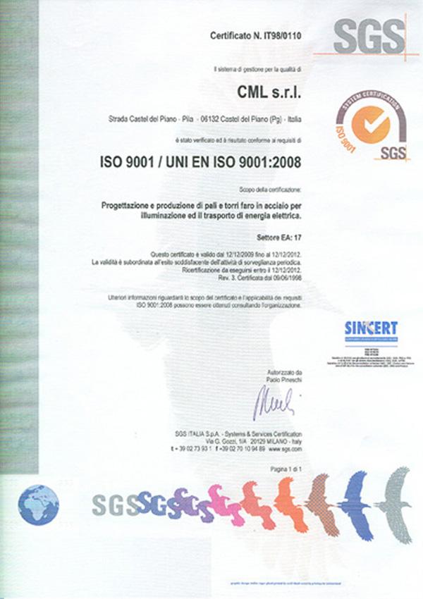 cml cerfificato qualita ISO 9001