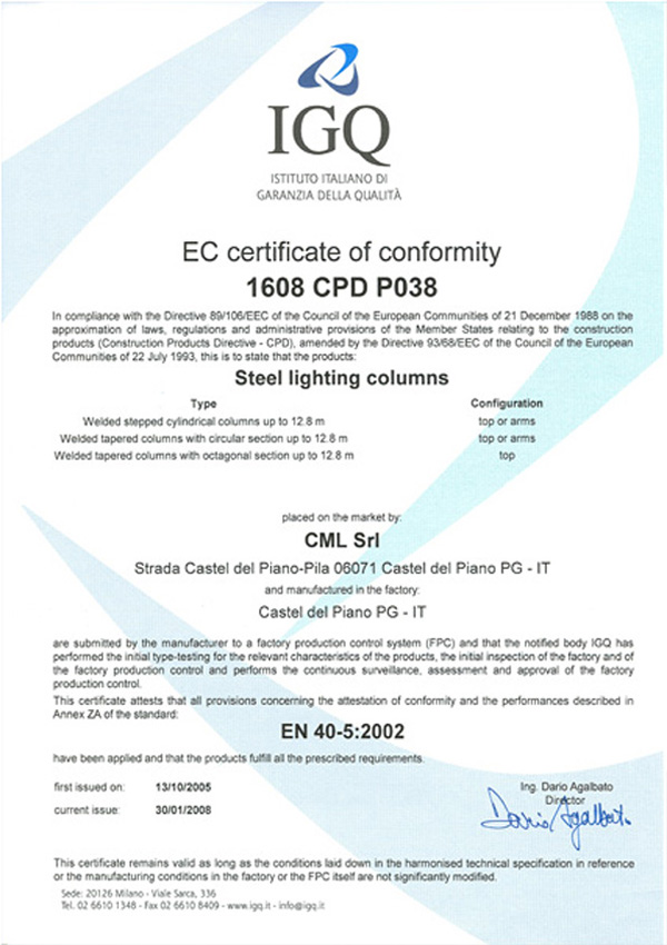 cml certificato IGQ inglese